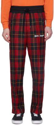 Palm Angels Tartan plaid virgin wool twill track pants