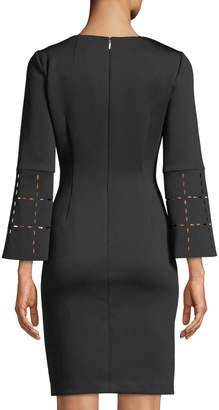 Donna Karan Sheath Scuba Dress W/ Laser Cut Bell Sleeves