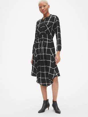 Gap Plaid Tie-Waist Midi Shirtdress