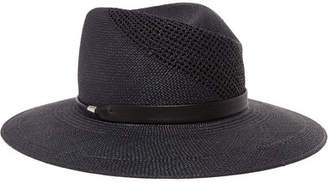 Rag & Bone Zoe Leather-trimmed Straw Fedora - Blue