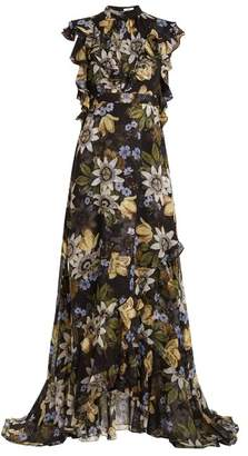 Erdem Riva Passion Flower Print Ruffle Trimmed Silk Gown - Womens - Black Multi