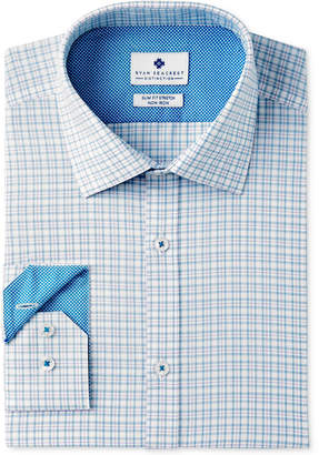 Ryan Seacrest Distinction Men's Slim-Fit Stretch Non-Iron Teal Check Dress Shirt, Created for Macy's