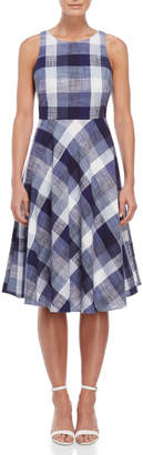 Eliza J Gingham Bow Back Fit & Flare Dress