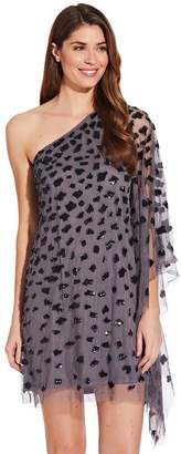 Adrianna Papell Womens Grey One Shoulder Beaded Kaftan Dress - Grey