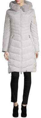 Karl Lagerfeld Paris Faux Fur-Trimmed Chevron Parka