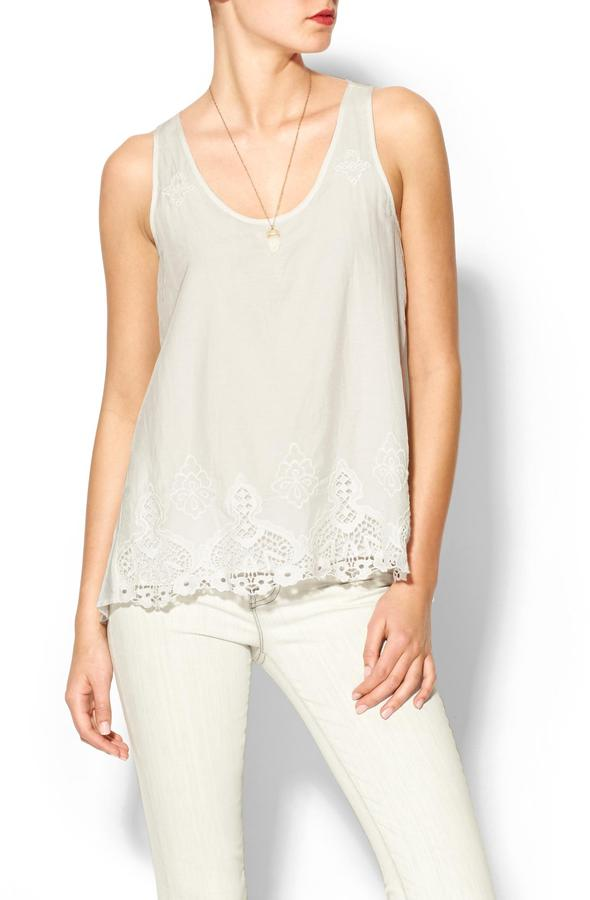 Wells Grace White Bottom Embroidered Top