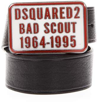 DSQUARED2 Black Bad Scout Belt In Leather