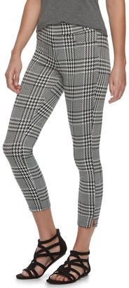 Utopia By Hue Women's Utopia by HUE Ankle Slit Wide Waistband Houndstooth Skimmer Leggings