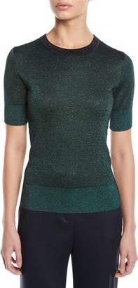 Escada Round-Neck Short-Sleeve Metallic-Knit Pullover Top