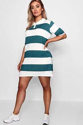 boohoo NEW Womens Plus Stripe Rugby Polo T-Shirt Dress in Viscose 5% Elastane