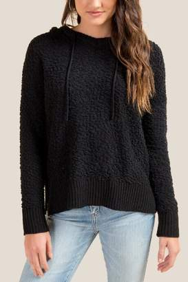 francesca's Desi Popcorn Knit Hooded Sweater - Black