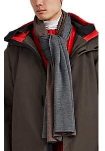 Barneys New York Men's Double-Faced Wool Long Scarf - Gray