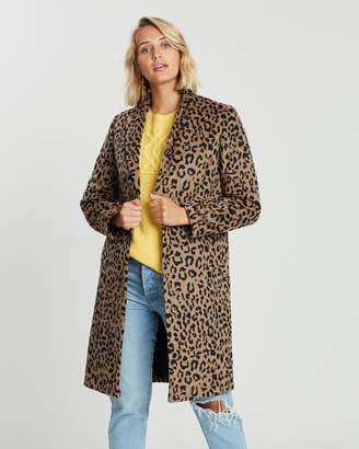 Dorothy Perkins Leopard Single Breasted Crombie Coat