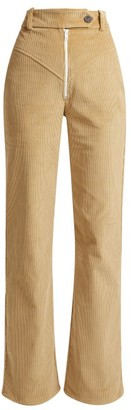 Awake Straight Leg Cotton Corduroy Trousers - Womens - Camel