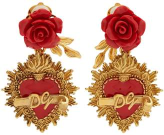 Rose and heart-drop clip on earrings