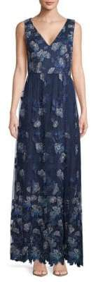 Carmen Marc Valvo Embroidered Sleeveless Gown