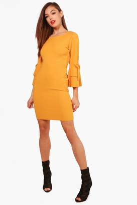 boohoo Nancy Ruffle Sleeve Bow Dress