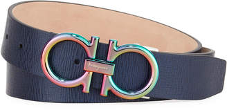 Salvatore Ferragamo Men's Revival Textured Calf Leather Belt with Iridescent Buckle