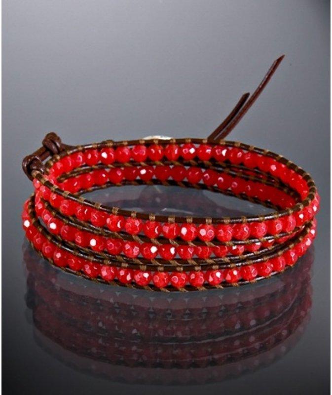 Chan Luu red jade beaded leather wrap bracelet