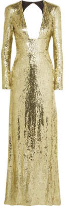 Dundas - Open-back Sequined Tulle Gown - Gold