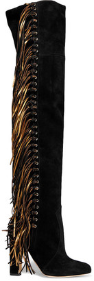 Brian Atwood - Horsy Metallic Fringed Suede Over-the-knee Boots - Black $1,795 thestylecure.com