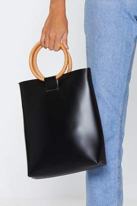 Nasty Gal WANT Wood-ly Day Structured Handle Tote Bag