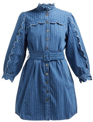 MiH Jeans Covey Scalloped Cotton Chambray Dress - Womens - Blue Stripe