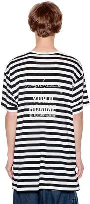 Yohji Yamamoto Striped Cotton Blend Jersey T-Shirt
