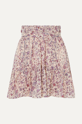Etoile Isabel Marant Laraya Pleated Printed Cotton Skirt - Lilac