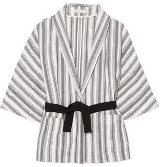Vanessa Bruno Iles Belted Striped Cotton-canvas Jacket - White