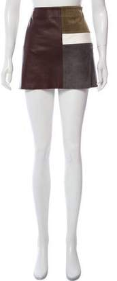 Theory Leather Color Block Skirt