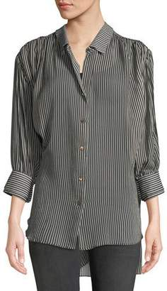 Halston Ruched Button-Up Long-Sleeve Top