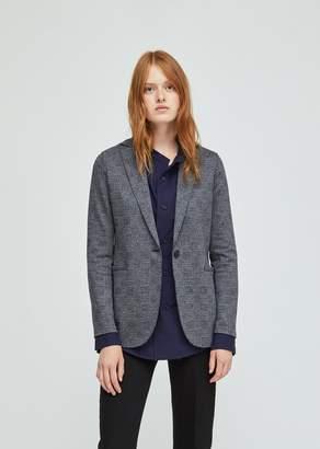 Harris Wharf London Checked Wool Cotton Boyfriend Blazer