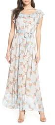 Chelsea28 Mixed Print Clip Dot Maxi Dress