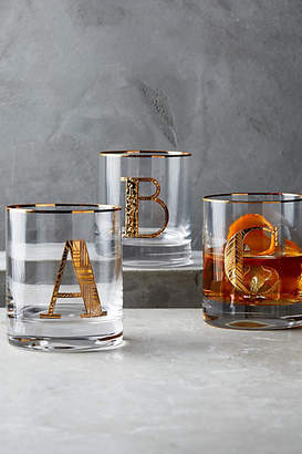 Anthropologie Gilded Monogram DOF Glass