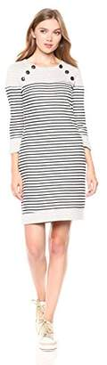 Three Dots Women's FG5844 Solid and Stripe Dress