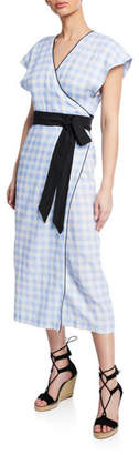 Marysia Swim Coopers Belted Check Short-Sleeve Linen Dress