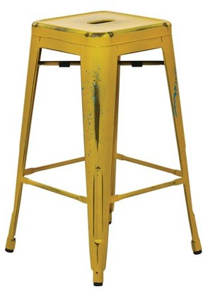"""Office Star OSP Designs by Products Bristow 26"""" Antique Metal Barstool, Antique Yellow with Blue Specks, 4-Pack"""