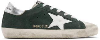 Golden Goose Green and Silver Superstar Sneakers
