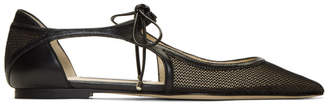 Jimmy Choo Black Mesh and Leather Vanessa Flats