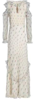 Vilshenko Cold-Shoulder Ruffle-Trimmed Printed Silk-Georgette Maxi Dress