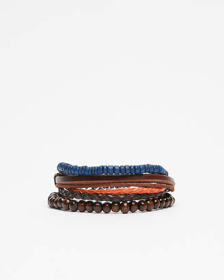 Express Leather And Bead Stretch Bracelet