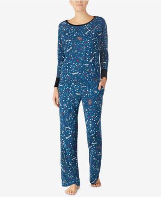 Betsey Johnson Velvet-Trimmed Printed Pajama Set