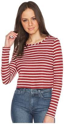 Olive + Oak Olive & Oak Long Sleeve Boat Neck Crop Knit Top Women's Long Sleeve Pullover
