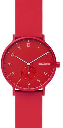 Skagen Aaren Kulør Silicone Strap Watch, 41mm