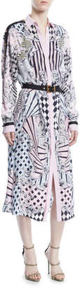 Versace Button-Front Long-Sleeve Devore-Print Silk Long Shirtdress