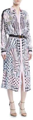 Versace Button-Front Long-Sleeve Devore-Print Silk Long Shirtdress