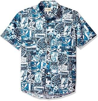 Margaritaville Men's Short Sleeve Tropical Tapa Print Shirt