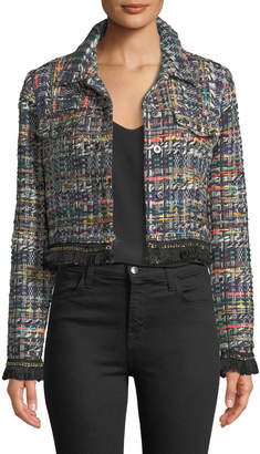Milly Button-Front Cropped Multicolor Tweed Jacket w/ Fringe Hem