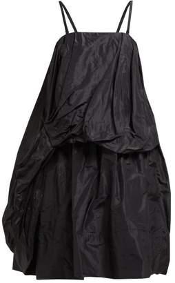 Simone Rocha Draped Silk Taffeta Midi Dress - Womens - Black
